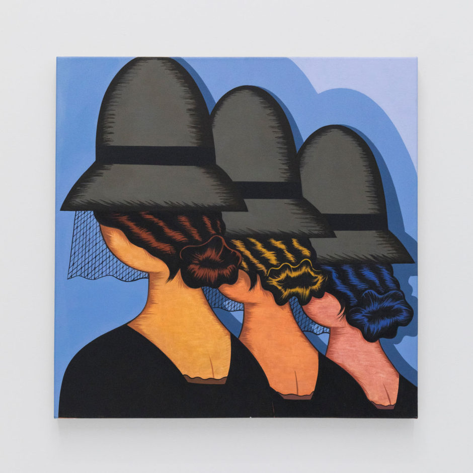 "Julie Curtiss, ""Three Widows"", 2016, acrylic and oil on canvas, 30 x 30 inches, 76 x 76 cm"