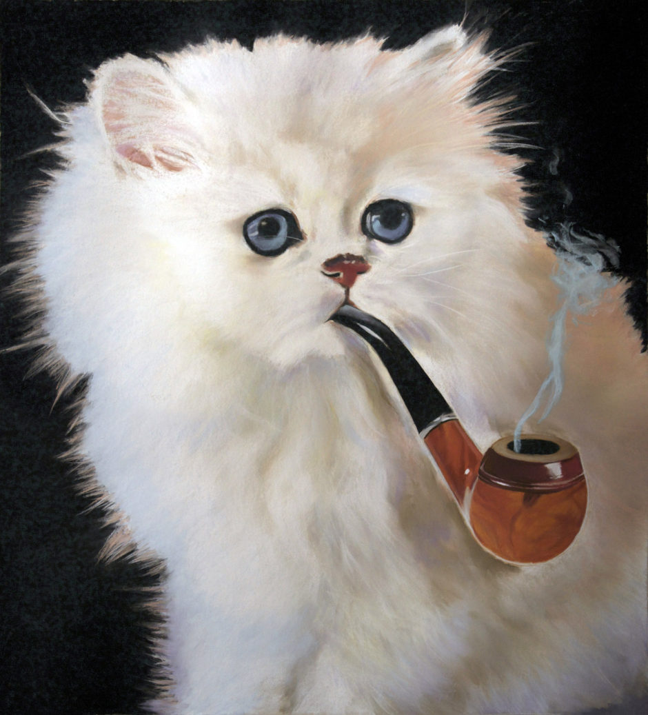 """This Is Not a Cat Smoking a Pipe"", 2017, pastel on paper, 53 x 48 inches, 134.5 x 122 cm"