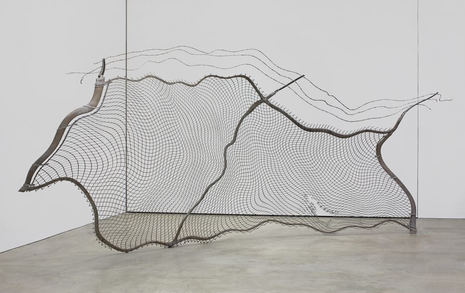Lazzarini, chain-link fence (torn) (view 2), 2012, steel, pigment, 134 x 276 x 75 in. 340.36 x 701.04 x 190.5 cm 1500